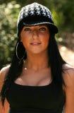 Woman wearing sports bra. Beautiful fit woman wearing black sports bra Stock Image