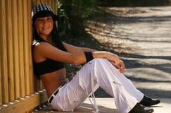 Woman wearing sports bra. Beautiful fit woman wearing black sports bra Royalty Free Stock Photography