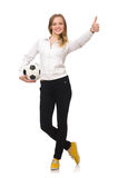 The woman wearing sports costume on white Royalty Free Stock Images