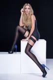 Woman wearing stockings. Royalty Free Stock Photo