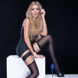 Woman wearing stockings. Royalty Free Stock Image