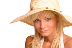 Woman wearing straw Royalty Free Stock Photography