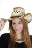 Woman wearing a stylish cowboy hat Royalty Free Stock Photo