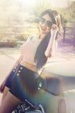 Woman wearing stylish elegant summer fashion look Royalty Free Stock Image