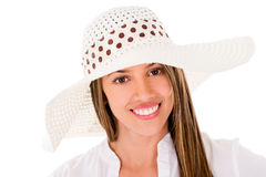 Woman wearing a summer hat Royalty Free Stock Photo