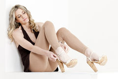 Woman wearing summer shoes Royalty Free Stock Images