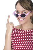 Woman Wearing Sun Glasses Holding Up Finger Royalty Free Stock Images