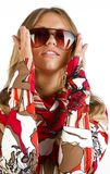 Woman is wearing sunglasses Royalty Free Stock Photography