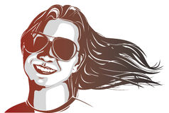 Woman wearing sunglasses. With her hair flowing in the wind Stock Photos
