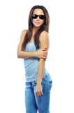 Woman wearing sunglasses against white background Stock Photo