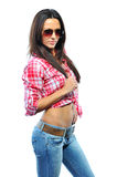 Woman wearing sunglasses against white background Royalty Free Stock Photo
