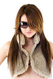 Woman wearing sunglasses and fur jacket Royalty Free Stock Photo