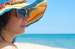 Woman wearing sunglasses and hat Stock Photos