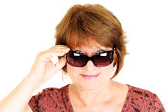 Woman wearing sunglasses on the white. Stock Photo