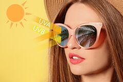 Free Woman Wearing Sunglasseson Yellow Background, Closeup. UVA And UVB Rays Reflected By Lenses, Illustration Stock Images - 198257564