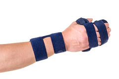 Woman Wearing Supporting Hand and Wrist Brace Royalty Free Stock Image