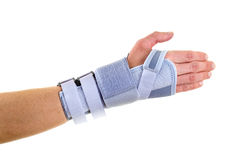 Woman Wearing Supportive Wrist Brace in Studio. Close Up of Woman Wearing Supportive Orthopedic Wrist Brace in Studio with White Background and Copy Space Stock Photos