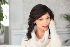 Woman wearing a sweater Stock Photo