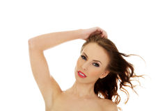 Woman wearing swimming bra. Royalty Free Stock Photography