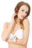 Woman wearing swimming bra. Royalty Free Stock Photos