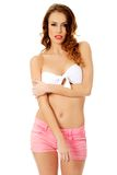 Woman wearing swimming bra. Stock Photos