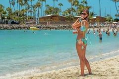 Woman Wearing Teal Bikini Standing Near Shore Royalty Free Stock Images