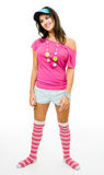 Woman wearing teenager party costume Stock Photo