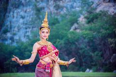 Woman Wearing Thai Ancient Traditional Costume Stock Photo