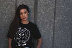 Woman Wearing Tiger Head-printed Crew-neck Shirt Stock Image