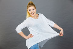 Woman wearing too big jumper Royalty Free Stock Image