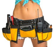Woman Wearing Tool Belt With Tools, Close Up Stock Image