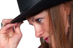 Woman Wearing a Top hat Stock Photos