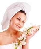 Woman wearing towel on head. Stock Photography