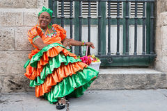 Woman wearing a traditional dress in Old Havana Royalty Free Stock Photography