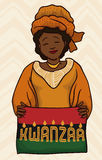 Woman Wearing Traditional Kwanzaa Garment, Vector Illustration Royalty Free Stock Photos