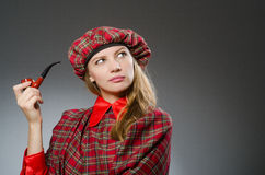 The woman wearing traditional scottish clothing Royalty Free Stock Photo