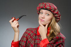 The woman wearing traditional scottish clothing Stock Photos