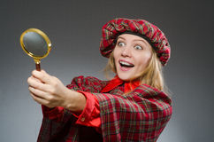 The woman wearing traditional scottish clothing Stock Image