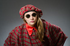 The woman wearing traditional scottish clothing Royalty Free Stock Photography