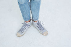 Woman wearing trainers Royalty Free Stock Images