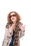 Woman wearing trenchcoat. Woman with glasses wearing trenchcoat standing on white Stock Photos