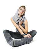 Woman wearing trendy clothes Royalty Free Stock Photos
