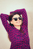 Woman wearing trendy glasses Royalty Free Stock Photo