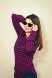 Woman wearing trendy glasses Royalty Free Stock Photos