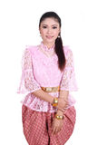 Woman wearing typical thai dress, identity culture of thailand stock photos