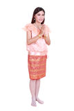 Woman wearing typical thai dress pay respect isolated on white b Stock Photography