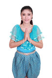 Woman wearing typical thai dress pay respect Stock Photos