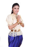 Woman wearing typical thai dress pay respect Royalty Free Stock Image