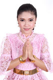 Woman wearing typical thai dress pay respect Stock Image