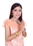 Woman wearing typical thai dress pay respect Stock Images